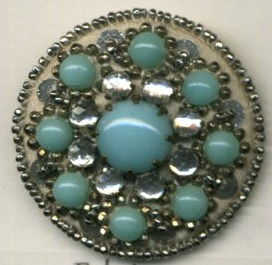 glass beads and sequins on steel