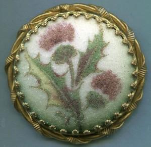 500 Coralene on Porcelain set in metal THISTLE front BARRANS