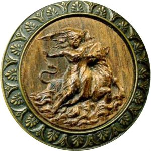 Europe and Zeus as the bull. Wood in brass large BYL [4609726]