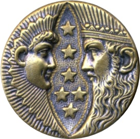 Selene and Helios stamped one piece brass large [4609736]