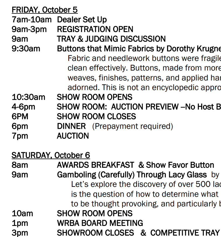 2018 WRBA show schedule
